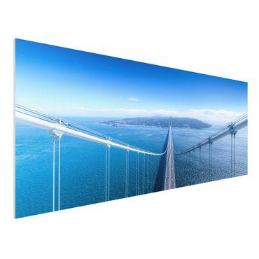 Forex Fine Art Print - Brücke zur Insel - Panorama