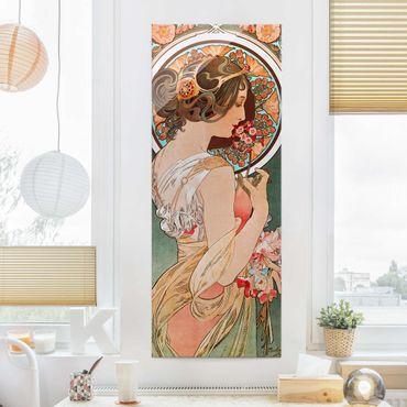 Glasbild - Alfons Mucha - Schlüsselblume - Panel