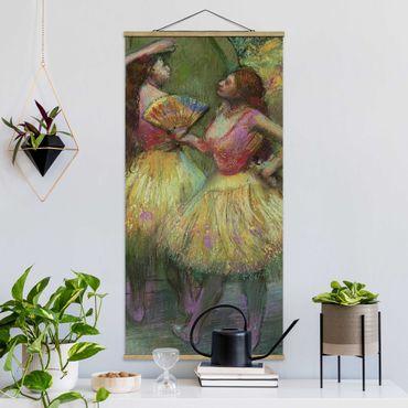 Stoffbild mit Posterleisten - Edgar Degas - Zwei Tänzerinnen - Hochformat 2:1