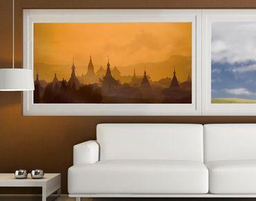 Fensterfolie - Sichtschutz Fenster Tempelstadt in Myanmar - Fensterbilder