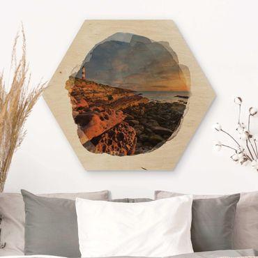 Hexagon Bild Holz - Wasserfarben - Tarbat Ness Meer & Leuchtturm bei Sonnenuntergang