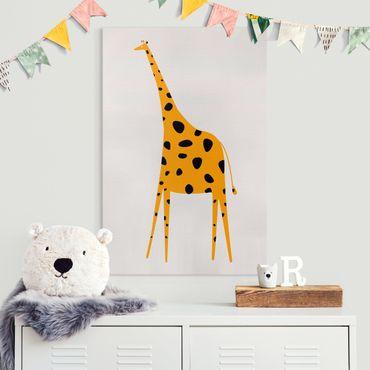 Leinwandbild - Gelbe Giraffe - Hochformat 3:2