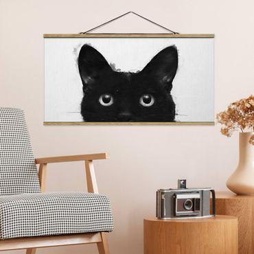Stoffbild mit Posterleisten - Laura Graves - Illustration Schwarze Katze auf Weiß Malerei - Querformat 2:1