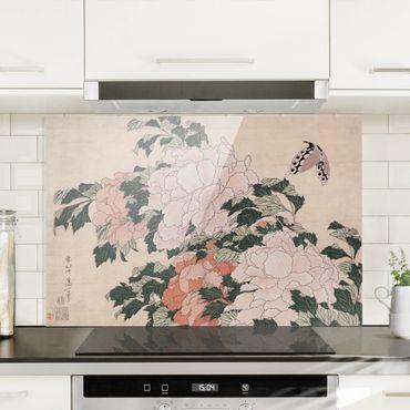 Spritzschutz Glas - Katsushika Hokusai - Rosa Pfingstrosen mit Schmetterling - Querformat - 3:2