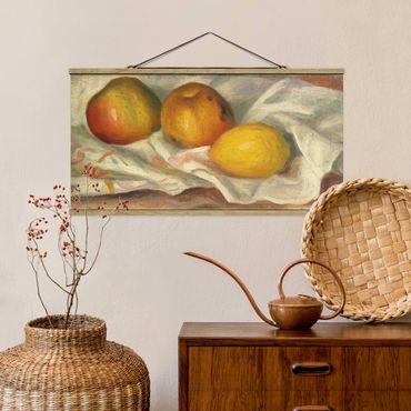 Stoffbild mit Posterleisten - Auguste Renoir - Äpfel und Zitrone - Querformat 2:1