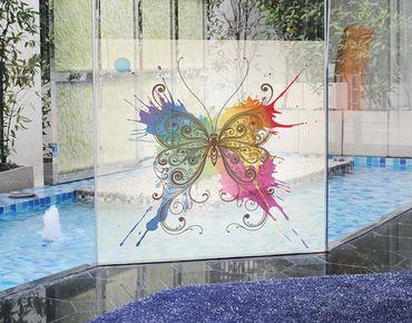 Fensterfolie - Sichtschutz Fenster Aquarell Schmetterling - Fensterbilder