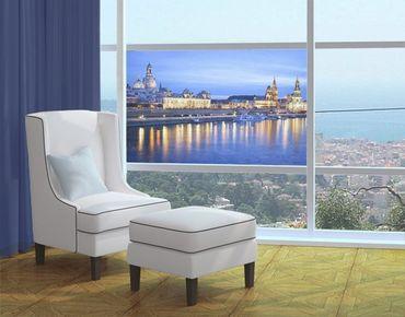 Fensterfolie - Sichtschutz Fenster Canaletto-Blick bei Nacht - Fensterbilder