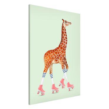 Magnettafel - Jonas Loose - Giraffe mit Rollschuhen - Memoboard Hochformat 3:2