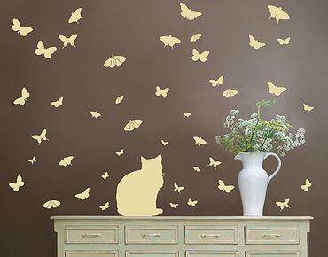 Wandtattoo Kinderzimmer Floral Katze Schmetterling No.RS68 Katze und Schmetterlinge II