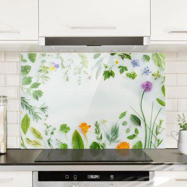 Spritzschutz Glas - Kräuter und Blüten - Querformat - 3:2