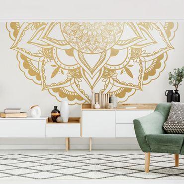 Fototapete - Mandala Blume Halbkreis gold weiß - Fototapete Breit