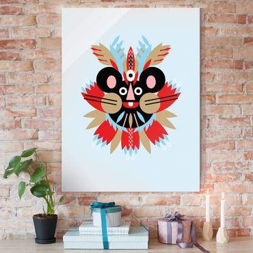 Glasbild - Collage Ethno Maske - Maus - Hochformat 4:3