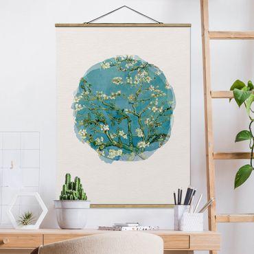 Stoffbild mit Posterleisten - Wasserfarben - Vincent van Gogh - Mandelblüte - Hochformat 4:3
