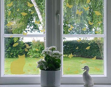 Fensterfolie - Fenstertattoo No.RS68 Katze und Schmetterlinge - Milchglasfolie