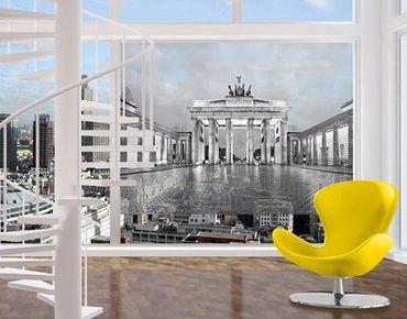 Fensterfolie - Sichtschutz Fenster Erleuchtetes Brandenburger Tor II - Fensterbilder