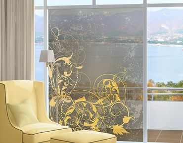 Fensterfolie - Sichtschutz Fenster Schnörkel in Gold - Fensterbilder