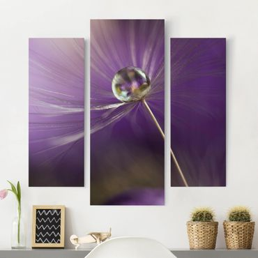 Leinwandbild 3-teilig - Pusteblume in Violett - Galerie Triptychon