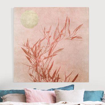 Leinwandbild - Goldene Sonne mit Rosa Bambus - Quadrat 1:1