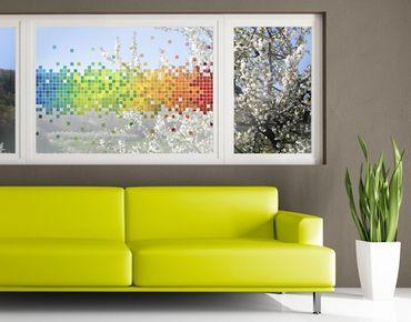 Fensterfolie - Sichtschutz Fenster Pixel-Regenbogen - Fensterbilder