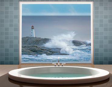 Fensterfolie - Sichtschutz Fenster Sturmwellen am Leuchtturm - Fensterbilder