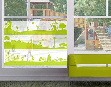 Fensterfolie - Sichtschutz Fenster Drei Landschaften - Fensterbilder