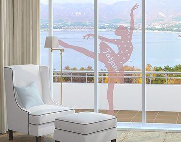 Fensterfolie - Fenstertattoo No.RS105 Wunschtext Ballett - Milchglasfolie