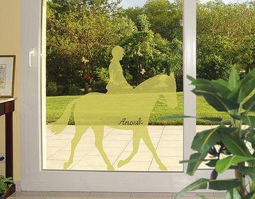 Fensterfolie - Fenstertattoo No.RS108 Wunschtext Dressurreiten - Milchglasfolie