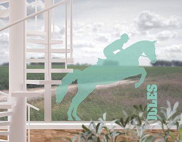 Fensterfolie - Fenstertattoo No.RS113 Wunschtext Springreiten - Milchglasfolie