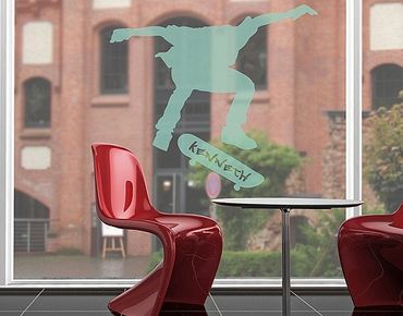 Fensterfolie - Fenstertattoo No.RS120 Wunschtext Skateboarder - Milchglasfolie