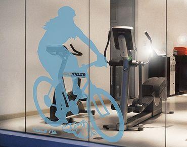 Fensterfolie - Fenstertattoo No.RS122 Wunschtext Radfahrerin - Milchglasfolie