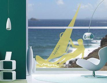 Fensterfolie - Fenstertattoo No.RS135 Wunschtext Windsurfen - Milchglasfolie