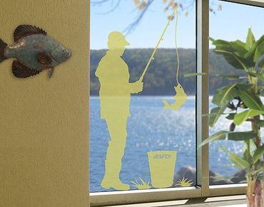 Fensterfolie - Fenstertattoo No.RS126 Wunschtext Angeln - Milchglasfolie