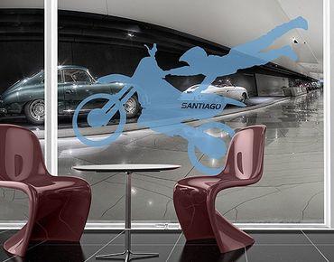Fensterfolie - Fenstertattoo No.RS131 Wunschtext Motocross - Milchglasfolie