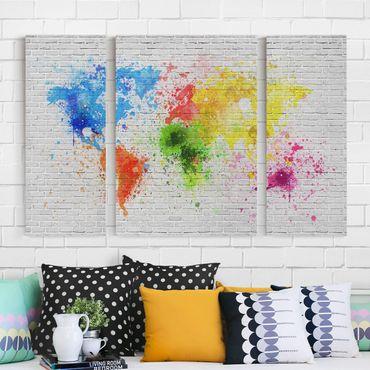 Leinwandbild 3-teilig - Weiße Backsteinwand Weltkarte - Tryptichon