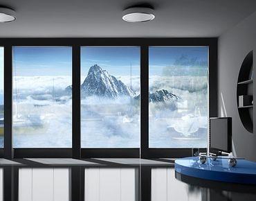 Fensterfolie - XXL Fensterbild Die Alpen über den Wolken - Fenster Sichtschutz