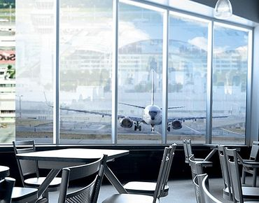 Fensterfolie - XXL Fensterbild Flugzeug vor dem Start - Fenster Sichtschutz