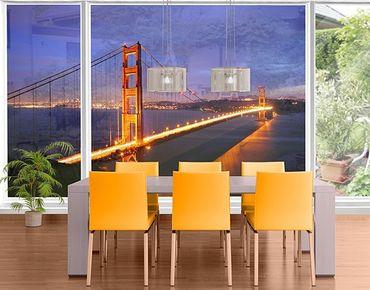 Fensterfolie - XXL Fensterbild Golden Gate Bridge bei Nacht - Fenster Sichtschutz