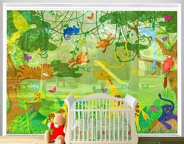 Fensterfolie - XXL Fensterbild No.IS87 Dschungelspiel - Fenster Sichtschutz