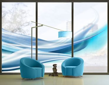 Fensterfolie - XXL Fensterbild Blue Dust - Fenster Sichtschutz