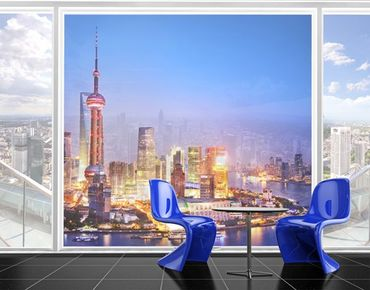 Fensterfolie - XXL Fensterbild Shanghai Skyline - Fenster Sichtschutz