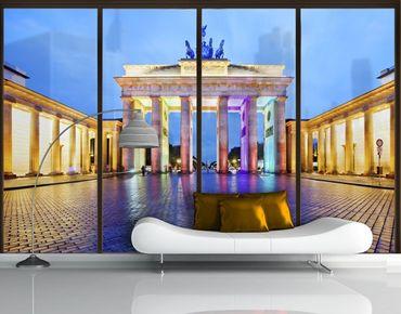 Fensterfolie - XXL Fensterbild Erleuchtetes Brandenburger Tor - Fenster Sichtschutz