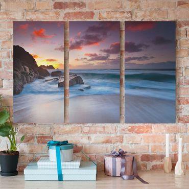 Leinwandbild 3-teilig - Am Meer in Cornwall - Hoch 1:2