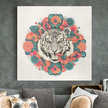 Leinwandbild - Illustration Tiger Zeichnung Mandala Paisley - Quadrat 1:1