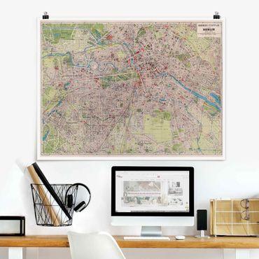 Poster - Vintage Stadtplan Berlin - Querformat 3:4