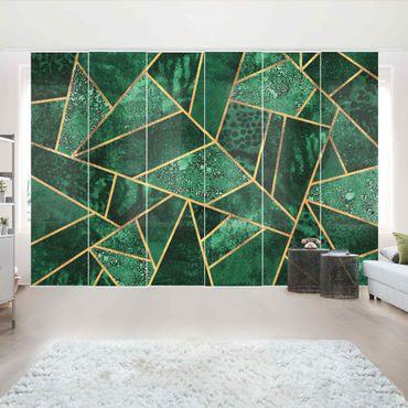 Schiebegardinen Set - Elisabeth Fredriksson - Dunkler Smaragd mit Gold - 6 Flächenvorhänge