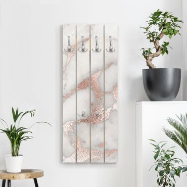 Wandgarderobe Holz - Mamoroptik mit Glitzer - Haken chrom Hochformat