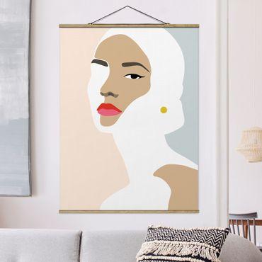 Stoffbild mit Posterleisten - Line Art Portrait Frau Pastell Grau - Hochformat 4:3