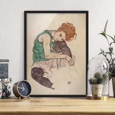 Bild mit Rahmen - Egon Schiele - Sitzende Frau mit hochgezogenem Knie - Hochformat 4:3