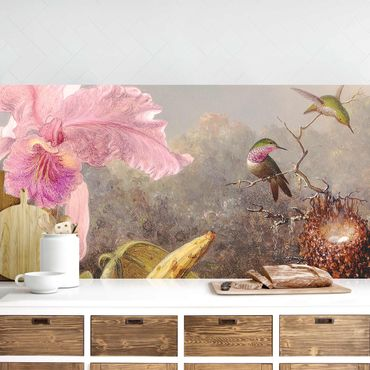 Küchenrückwand - Martin Johnson Heade - Orchidee und drei Kolibris
