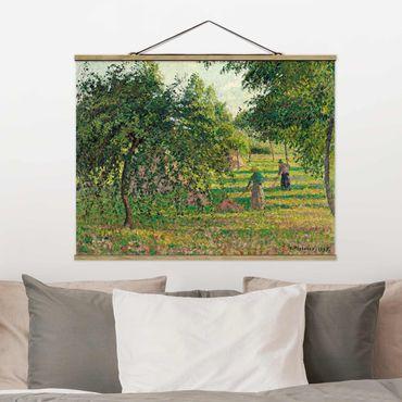 Stoffbild mit Posterleisten - Camille Pissarro - Apfelbäume - Querformat 3:4